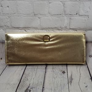 Vintage Metallic Gold Structured Long Clutch